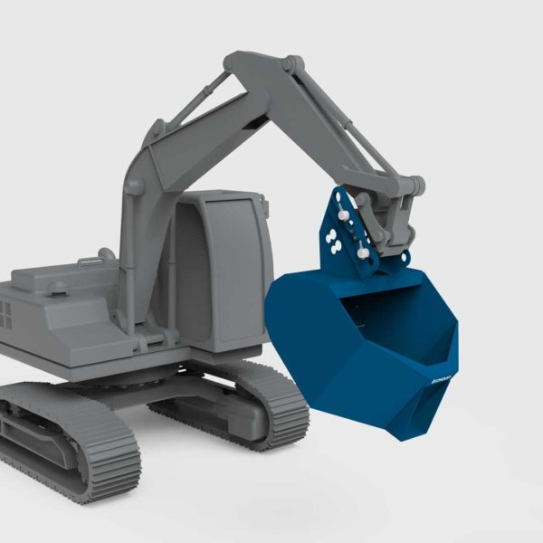 excavator pouring bucket attachment on an excavator