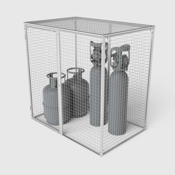 cage for storage of gas bottles and cylinders left side view