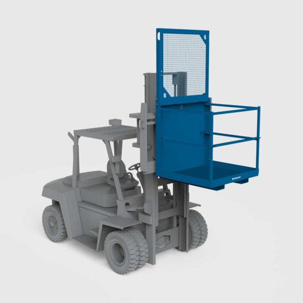 conquip forklift access cage on a forklift